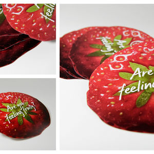 Die cut strawberry shape voucher